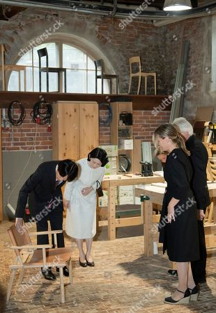 Crown Prince Akishino (L) and Crown Princess Akishino (2-L) of Japan, accompanied by Nikari CEO Johanna Vuorio (R) and Nikari founder Kari Virtanen (2-R), visit the workshop of furniture manufacturer Nikari in Fiskars village, Finland, 04 July 2019. The Japanese royal couple are on a four-day visit to Finland that marks 100 years of diplomatic relations between the two countries.