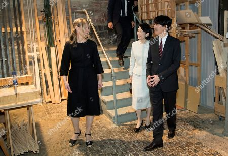 Crown Prince Akishino (R) and Crown Princess Akishino (C) of Japan, accompanied by Nikari CEO Johanna Vuorio (L) visit the workshop of furniture manufacturer Nikari in Fiskars village, Finland, 04 July 2019. The Japanese royal couple are on a four-day visit to Finland that marks 100 years of diplomatic relations between the two countries.