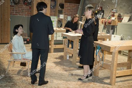 Crown Prince Akishino (2-L) and Crown Princess Akishino (L) of Japan, accompanied by Nikari CEO Johanna Vuorio (2-R) and Nikari founder Kari Virtanen (R), visit the workshop of furniture manufacturer Nikari in Fiskars village, Finland, 04 July 2019. The Japanese royal couple are on a four-day visit to Finland that marks 100 years of diplomatic relations between the two countries.