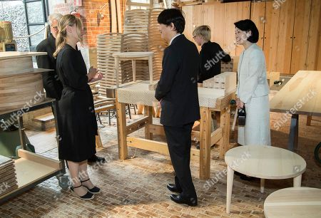 Crown Prince Akishino (C) and Crown Princess Akishino (R) of Japan, accompanied by Nikari CEO Johanna Vuorio (L) visit the workshop of furniture manufacturer Nikari in Fiskars village, Finland, 04 July 2019. The Japanese royal couple are on a four-day visit to Finland that marks 100 years of diplomatic relations between the two countries.