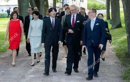 (L-R) Fiskars Group CEO Jaana Tuominen, Crown Princess Akishino of Japan, Crown Prince Akishino of Japan, Mayor of Raseborg Town Ragnas Lundqvist and General Manager Kari Selkala walk from the Fiskars Manor House to the Fiskars 1649 Exhibition in the Fiskars Shop during a visit to Fiskars village, Finland, 04 July 2019. The Japanese royal couple are on a four-day visit to Finland that marks 100 years of diplomatic relations between the two countries.