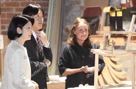 Crown Prince Akishino and Crown Princess Akishino of Japan meet carpenter Minja Kolehmainen as they visit the workshop of Nikari, a wood design studio and furniture manufacturer, in the Fiskars Village in Raasepori. During their four-day visit, Their Imperial Highnesses will explore Finnish culture, landmarks, nature and healthcare.