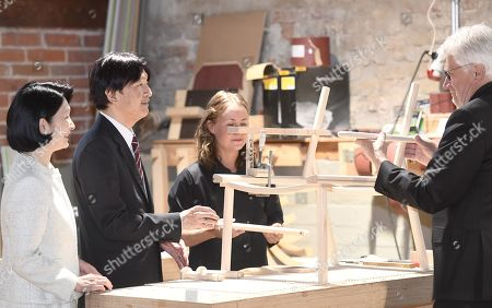 Crown Prince Akishino and Crown Princess Akishino of Japan meet carpenter Minja Kolehmainen and Nikari founder Kari Virtanen as they visit the workshop of Nikari, a wood design studio and furniture manufacturer, in the Fiskars Village in Raasepori. During their four-day visit, Their Imperial Highnesses will explore Finnish culture, landmarks, nature and healthcare.
