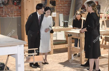 Crown Prince Akishino and Crown Princess Akishino of Japan meet carpenter Minja Kolehmainen, Nikari CEO Johanna Vuorio and Nikari founder Kari Virtanen as they visit the workshop of Nikari, a wood design studio and furniture manufacturer, in the Fiskars Village in Raasepori. During their four-day visit, Their Imperial Highnesses will explore Finnish culture, landmarks, nature and healthcare.