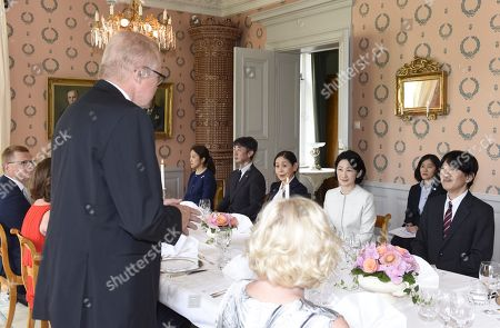 Crown Prince Akishino (R) and Crown Princess Kiko of Japan and Mayor of Raasepori Ragnar Lundqvist (front L) attend dinner hosted by Fiskars Village and Raasepori Town in Raasepori