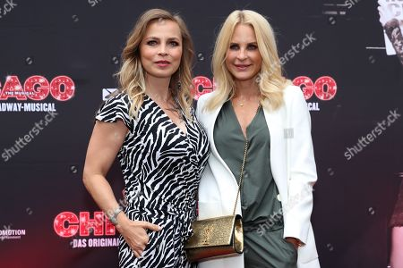 Regina Halmich (L) and German designer Sonja Kiefer pose during the premiere of the musical 'Chicago' at the Admiralspalast in Berlin, 04 July 2019. The musical runs until in Berlin 13 July.