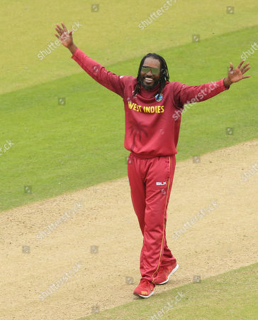 LEEDS, ENGLAND. 04 JULY Chris Gayle of West Indies appeals for the wicket of Ikram Ali Khil of Afghanistan during the Afghanistan v West Indies, ICC Cricket World Cup match, at Headingley, Leeds, England