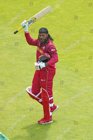 LEEDS, ENGLAND. 04 JULY Chris Gayle of West Indies walks off after being dismissed during the Afghanistan v West Indies, ICC Cricket World Cup match, at Headingley, Leeds, England