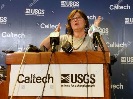 Seismologist Lucy Jones talks during a news conference at the Caltech Seismological Laboratory in Pasadena, Calif., . A strong earthquake rattled a large swath of Southern California and parts of Nevada on Thursday morning, making hanging lamps sway and photo frames on walls shake. There were no immediate reports of damage or injuries but a swarm of aftershocks were reported