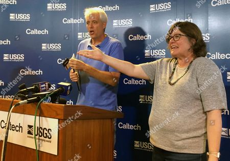 Seismologists Lucy Jones and Robert Graves, answer questions during a news conference at the Caltech Seismological Laboratory in Pasadena, Calif. on . A strong earthquake rattled a large swath of Southern California and parts of Nevada on Thursday morning, making hanging lamps sway and photo frames on walls shake. There were no immediate reports of damage or injuries but a swarm of aftershocks were reported