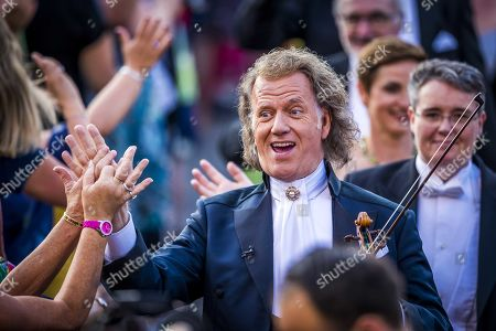Dutch violinist and concert director Andre Rieu during the annual Vrijthof concerts in Maastricht, the Netherlands, 04 July 2019. This is fifteenth edition of Rieu's open air concerts.