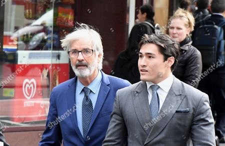 Australian actor John Jarratt (L) arrives at the Downing Centre Local Court in Sydney, Australia, 05 July 2019. Jarratt is in court for an alleged rape in 1976. The actor has pleaded not guilty.