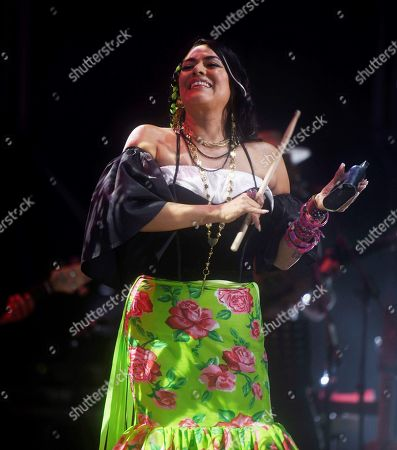 Lila Downs performs on stage during the opening day of Guitar Festival at the Gran Teatro in Cordoba, Spain, 04 July 2019.