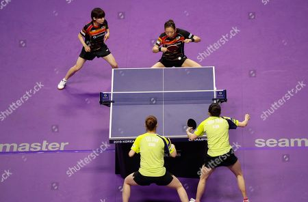 Stock Photo of Choi Hyo-joo (L, back) and Yang Hae-un (R, back) of South Korea in action during the women's doubles table tennis semifinals match against Jeon Ji-hee (R, front) and Lee Zi-on (L, front) of South Korea at the Seamaster 2019 International Table Tennis Federation (ITTF) World Tour Shinhan Korea Open at Sajik Gym in Busan, South Korea, 05 July 2019.
