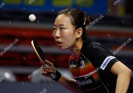 Yang Hae-un of South Korea in action during the women's doubles table tennis semifinals match against Jeon Ji-hee and Lee Zi-on of South Korea at the Seamaster 2019 International Table Tennis Federation (ITTF) World Tour Shinhan Korea Open at Sajik Gym in Busan, South Korea, 05 July 2019.