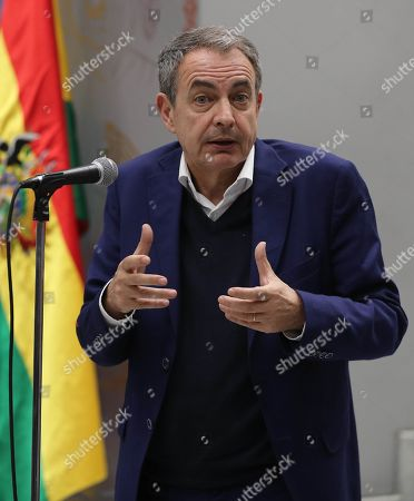Former Prime Minister of Spain Jose Luis Rodriguez Zapatero speaks during a press conference at the Casa Grande del Pueblo in La Paz, Bolivia, 04 July 2019.