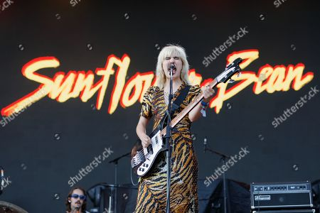Editorial photo of Sunflower Bean in concert at Cardiff Castle, UK - 29 Jun 2019