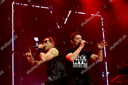 Members of French rap band NTM, singers Kool Shen (R) and JoeyStarr (L) perform on stage during the 31st Eurockeennes Festival in Belfort, France, 04 July 2019 (issued 05 July 2019). The music festival runs from 04 to 07 July.