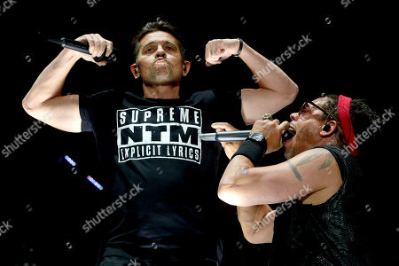 Members of French rap band NTM, singers Kool Shen (L) and JoeyStarr (R) perform on stage during the 31st Eurockeennes Festival in Belfort, France, 04 July 2019 (issued 05 July 2019). The music festival runs from 04 to 07 July.