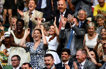 Geri Horner, Christian Horner celebrate Cori Gauff's victory on Centre Court