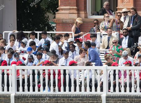 Kumar Sangakkara chats with a younger contingent in the members area at Lords during Pakistan vs Bangladesh, ICC World Cup Cricket at Lord's Cricket Ground on 5th July 2019