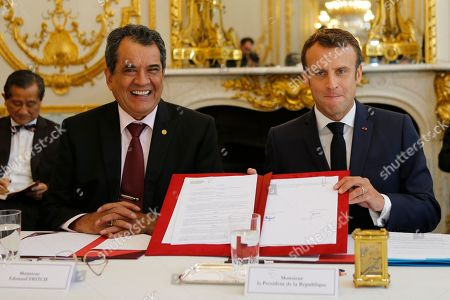 Edouard Fritch, President of French Polynesia, arrives for a meeting at the Elysee Palace in Paris. Edouard Fritch, President of the French Polynesia, attends a meeting with French President emmnauel Macron, right, at the Elysee Palace in Paris, France