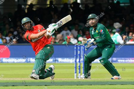 Mohammad Mahmudullah Riyad of Bangladesh hits the ball to the boundary for four runs during the ICC Cricket World Cup 2019 match between Pakistan and Bangladesh at Lord's Cricket Ground, St John's Wood