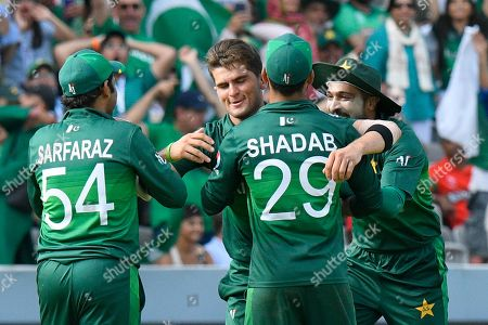 Stock Image of 5 Wickets - Shaheen Afridi of Pakistan celebrates taking the wicket of Mohammad Mahmudullah Riyad of Bangladesh during the ICC Cricket World Cup 2019 match between Pakistan and Bangladesh at Lord's Cricket Ground, St John's Wood