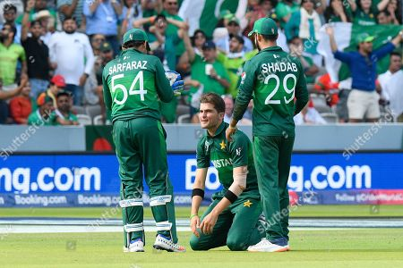 Stock Photo of 5 Wickets - Shaheen Afridi of Pakistan celebrates taking the wicket of Mohammad Mahmudullah Riyad of Bangladesh during the ICC Cricket World Cup 2019 match between Pakistan and Bangladesh at Lord's Cricket Ground, St John's Wood
