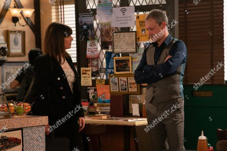 Stock Photo of Ep 9809 Monday 1st July 2019 - 1st Ep Nick Tilsey, as played by Ben Price, tries to speak to Audrey Roberts to build bridges but Paula, as played by Stirling Gallacher, reminds him he is in breach of his bail conditions by approaching her.