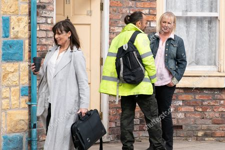 Ep 9821 Monday 15th July 2019 - 1st Ep Eileen Grimshaw's, as played by Sue Cleaver, curiosity is piqued when it's obvious that Paula Martin, as played by Stirling Gallacher, recognises Jan, as played by Piotr Baumann.