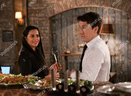 Ep 9815 Monday 8th July 2019 - 1st Ep As Michelle Connor and Ryan Connor, as played by Ryan Prescott, put the finishing touches to the canapes for the charity fundraiser, Michelle clocks Alya Nazir, as played by Sair Khan, checking Ryan out and it's clear she's still interested.