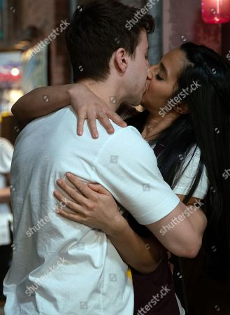 Ep 9818 Wednesday 10th July 2019 - 2nd Ep Ash threatens Nick Tilsley and Having finished his DJ set, Ryan Connor, as played by Ryan Prescott, and Alya Nazir, as played by Sair Khan, share a kiss.