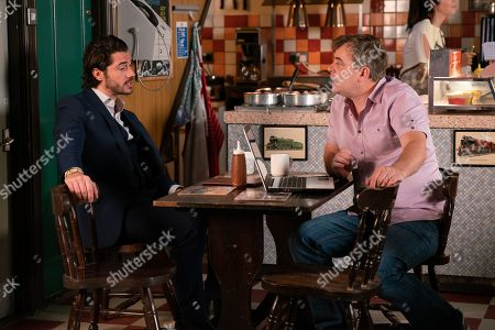 Ep 9815 Monday 8th July 2019 - 1st Ep As Steve McDonald, as played by Simon Gregson, surreptitiously takes a booking for a unicorn party, Adam Barlow, as played by Sam Robertson, reminds himthat it's his taxi licence appeal this afternoon.