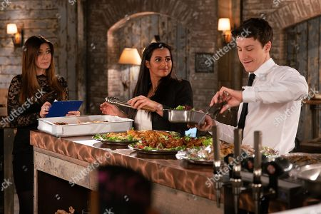 Ep 9815 Monday 8th July 2019 - 1st Ep As Michelle Connor, as played by Kym Marsh, and Ryan Connor, as played by Ryan Prescott, put the finishing touches to the canapes for the charity fundraiser, Michelle clocks Alya Nazir, as played by Sair Khan, checking Ryan out and it's clear she's still interested.