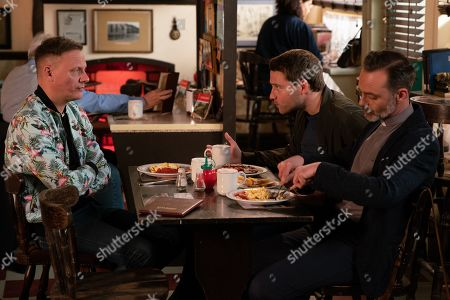 Ep 9815 Monday 8th July 2019 - 1st Ep As Steve McDonald, as played by Simon Gregson, surreptitiously takes a booking for a unicorn party, Adam Barlow, as played by Sam Robertson, reminds himthat it's his taxi licence appeal this afternoon. With Sean Tully, as played by Antony Cotton.