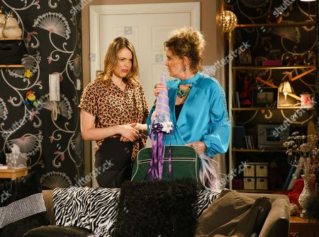 Ep 9830 Wednesday 24th July 2019 - 2nd Ep Liz McDonald, as played by Beverley Callard, and Tracy McDonald, as played by Kate Ford, rifle through Steve's holdall and are shocked to find Liz's hair extensions, glitter and a strap-on unicorn horn.