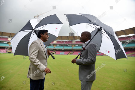 Former West Indies batsman Brian Lara being given a tour of DY Patil Stadium by Chancellor of DY Patil University Vijay D Patil ahead of Doctorate Degree ceremony