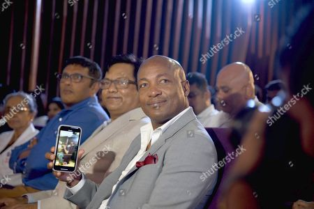 Former West Indies batsman Brian Lara with Chancellor of DY Patil University Vijay D Patil during a Doctorate Degree ceremony