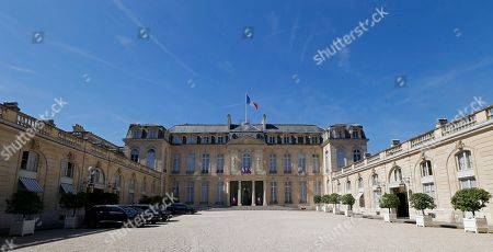 Edouard Fritch, President of French Polynesia, arrives for a meeting at the Elysee Palace in Paris. The courtyard of the Elysee Palace is pictured in Paris, France
