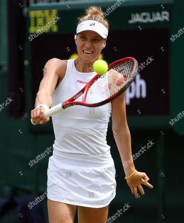 Viktorija Golubic of Switzerland returns to Dayana Yastremska of Ukraine in their third round match during the Wimbledon Championships at the All England Lawn Tennis Club, in London, Britain, 05 July 2019.