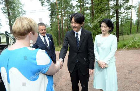 Crown Prince Akishino (2R) and Crown Princess Akishino (R) of Japan visit Ainola, the Home of Aino and Jean Sibelius with Finnish Minister of Science and Culture Annika Saarikko (L), in Järvenpää