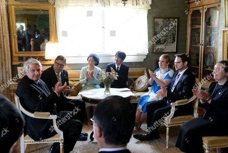 Crown Prince Akishino (4L) and Crown Princess Akishino (3L) of Japan visit Ainola, the Home of Aino and Jean Sibelius with Finnish Minister of Science and Culture Annika Saarikko (3R), in Järvenpää