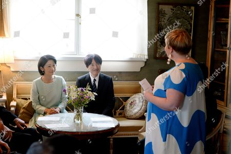 Crown Prince Akishino (C) and Crown Princess Akishino (L) of Japan visit Ainola, the Home of Aino and Jean Sibelius with Finnish Minister of Science and Culture Annika Saarikko (R), in Järvenpää
