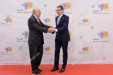 Polish Prime Minister Mateusz Morawiecki (R) and secretary-general of the Organization for Economic Cooperation and Development (OECD) Jose Angel Gurria (L) during the welcome of the heads of delegation at the Western Balkans Summit in Poznan, Poland 05 July 2019. The summit gathered officials from countries taking part in the Berlin Process, an initiative that supports the integration of the six Western Balkan nations with the European Union.