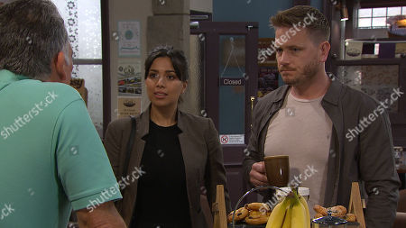 Stock Image of Ep 8532 Thursday 11th July 2019 - 1st Ep David Metcalfe, as played by Matthew Wolfenden, is preoccupied with the result of his blood test. With Bob Hope, as played by Tony Audenshaw, and Priya Sharma, as played by Fiona Wade.