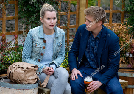 Ep 8535 Monday 15th July 2019  Robert Sugden's, as played by Ryan Hawley, interest is piqued when he learns Dawn, as played by Olivia Bromley, is wanting money to support Lucas. Desperate to stitch up Lee by any means necessary, he offers her £500 to get Lee interested in her.