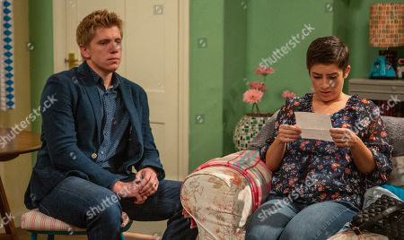 Ep 8535 Monday 15th July 2019  Victoria Barton's, as played by Isabel Hodgins, delight at having a deposit on a rental offer accepted is short lived when she receives a letter from Lee's mum, Wendy demanding a DNA test? Also pictured Robert Sugden, as played by Ryan Hawley,