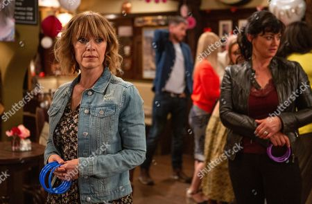 Ep 8539 Thursday 18th July 2019 - 1st ep As the party guests celebrate with Pete Barton and Rhona Goskirk, as played by Zoe Henry, in the pub, it is obvious they are being awkward with one another, feeling bamboozled. Will they get through this and get their happily ever after? Or will their doubts see them call time on their relationship?