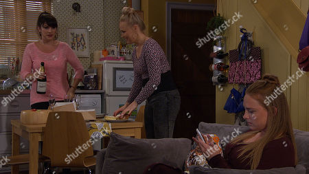 Ep 8528 Monday 8th July 2019  Kerry Wyatt, as played by Laura Norton, convinces Amy Wyatt, as played by Natalie Ann Jamieson, to have a girlie afternoon with her and Tracy Metcalfe, as played by Amy Walsh, but Amy and Tracy spend most of their time making barbed comments to one another about Nate.
